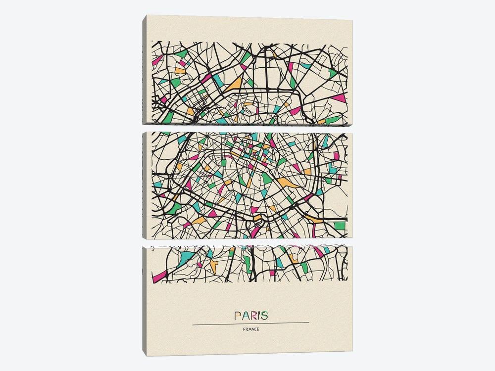 Paris, France Map by Ayse Deniz Akerman 3-piece Art Print