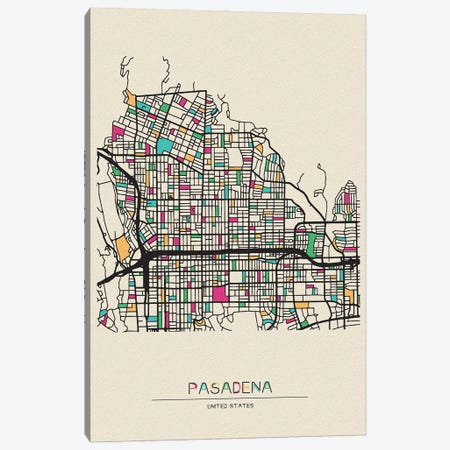 Pasadena, California Map Canvas Print #ADA601} by Ayse Deniz Akerman Art Print