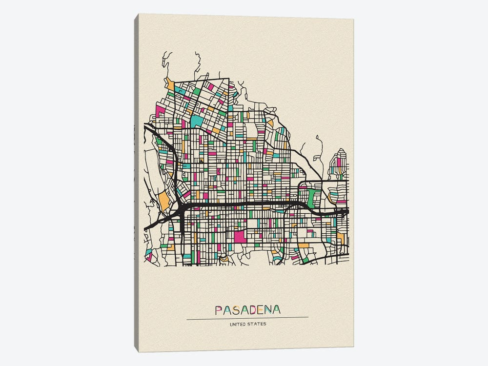 Pasadena, California Map by Ayse Deniz Akerman 1-piece Canvas Art