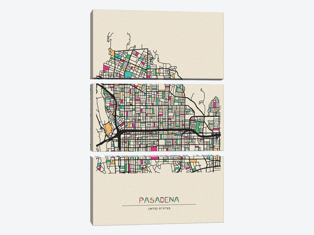 Pasadena, California Map by Ayse Deniz Akerman 3-piece Canvas Art