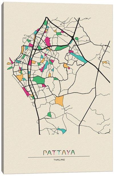 Pattaya, Thailand Map Canvas Art Print