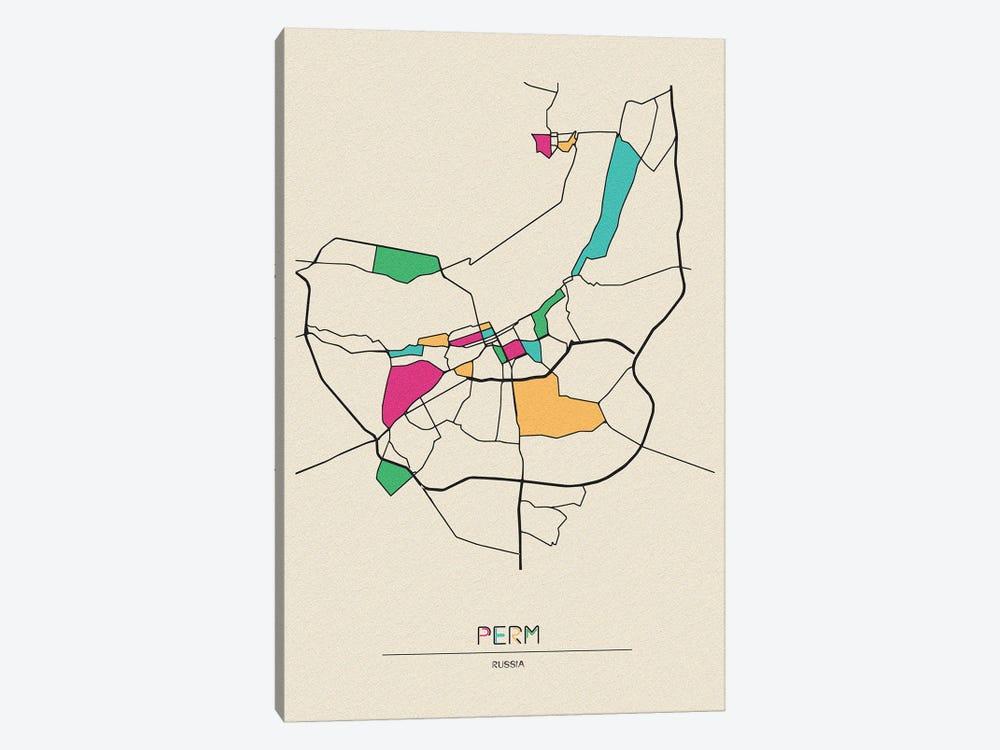 Perm, Russia Map by Ayse Deniz Akerman 1-piece Canvas Art