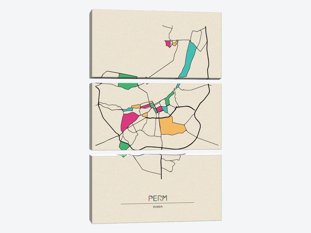 Perm, Russia Map by Ayse Deniz Akerman 3-piece Canvas Art