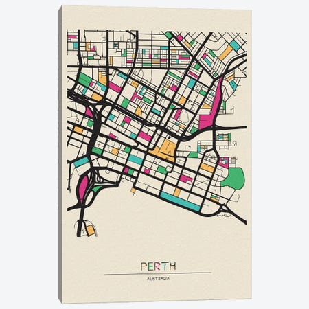 Perth, Australia Map Canvas Print #ADA604} by Ayse Deniz Akerman Canvas Wall Art