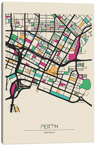 Perth, Australia Map Canvas Art Print