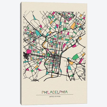 Philadelphia, Pennsylvania Map Canvas Print #ADA605} by Ayse Deniz Akerman Canvas Artwork