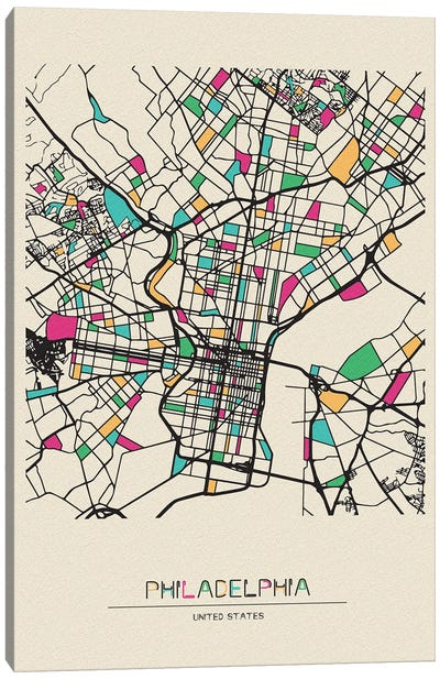 Philadelphia, Pennsylvania Map Canvas Art Print