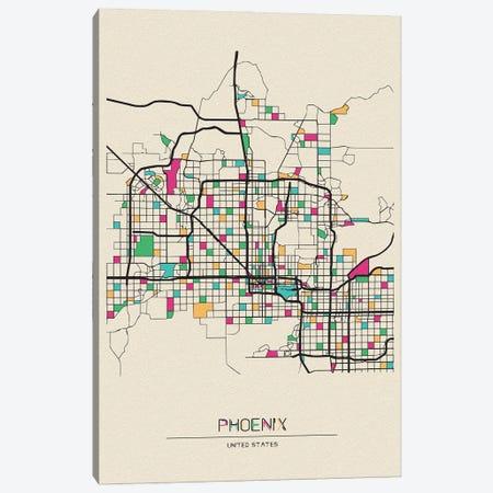 Phoenix, Arizona Map Canvas Print #ADA606} by Ayse Deniz Akerman Canvas Art