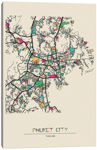 Phuket, Thailand Map Canvas Art Print