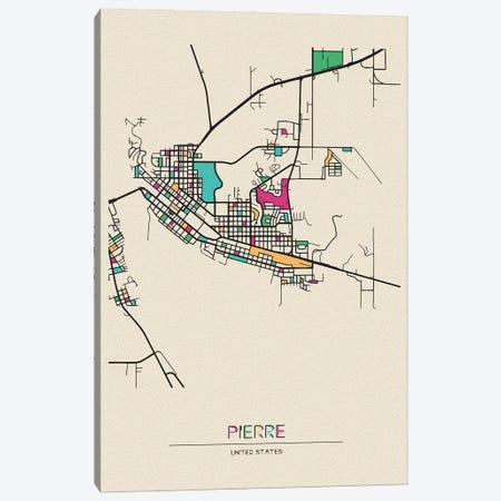 Pierre, South Dakota Map Canvas Print #ADA608} by Ayse Deniz Akerman Canvas Art Print