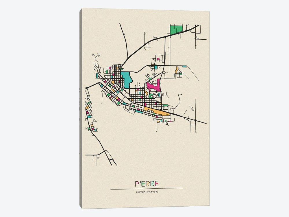 Pierre, South Dakota Map by Ayse Deniz Akerman 1-piece Canvas Print