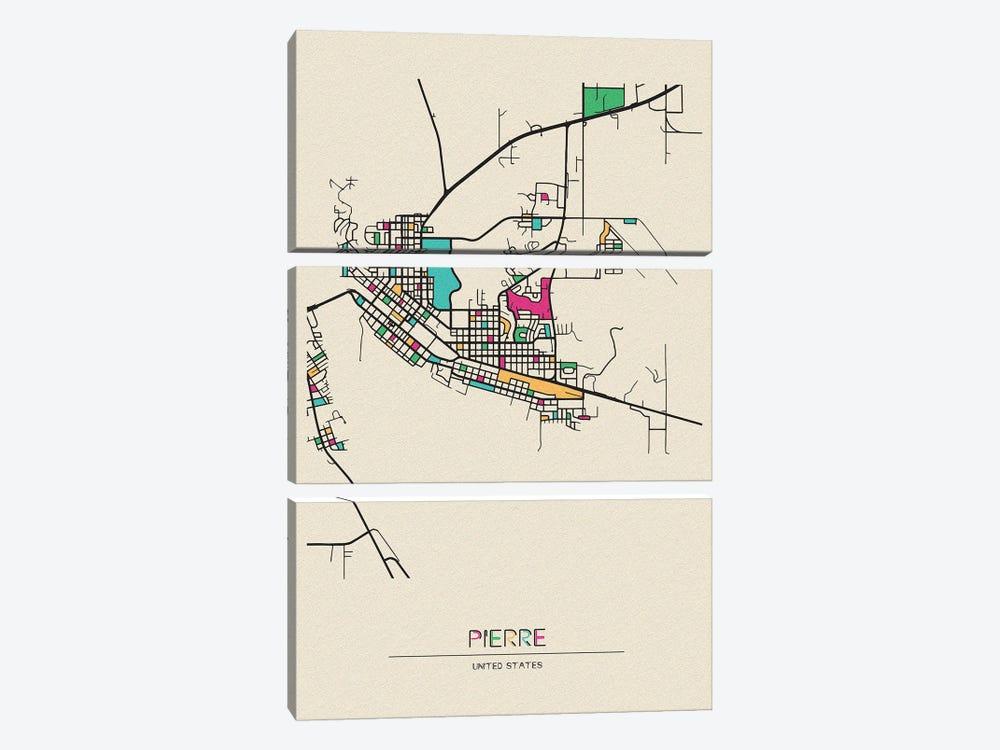 Pierre, South Dakota Map by Ayse Deniz Akerman 3-piece Art Print