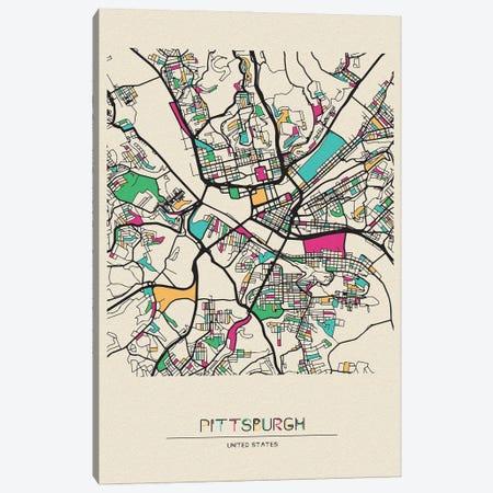 Pittsburgh, Pennsylvania Map Canvas Print #ADA609} by Ayse Deniz Akerman Canvas Print