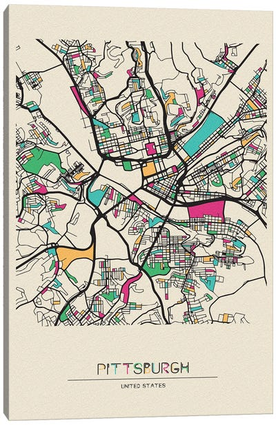 Pittsburgh, Pennsylvania Map Canvas Art Print