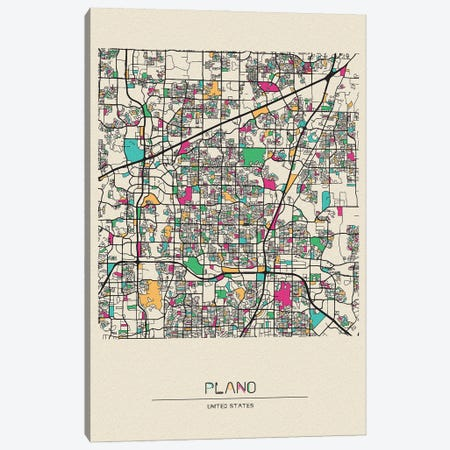 Plano, Texas Map Canvas Print #ADA610} by Ayse Deniz Akerman Canvas Art