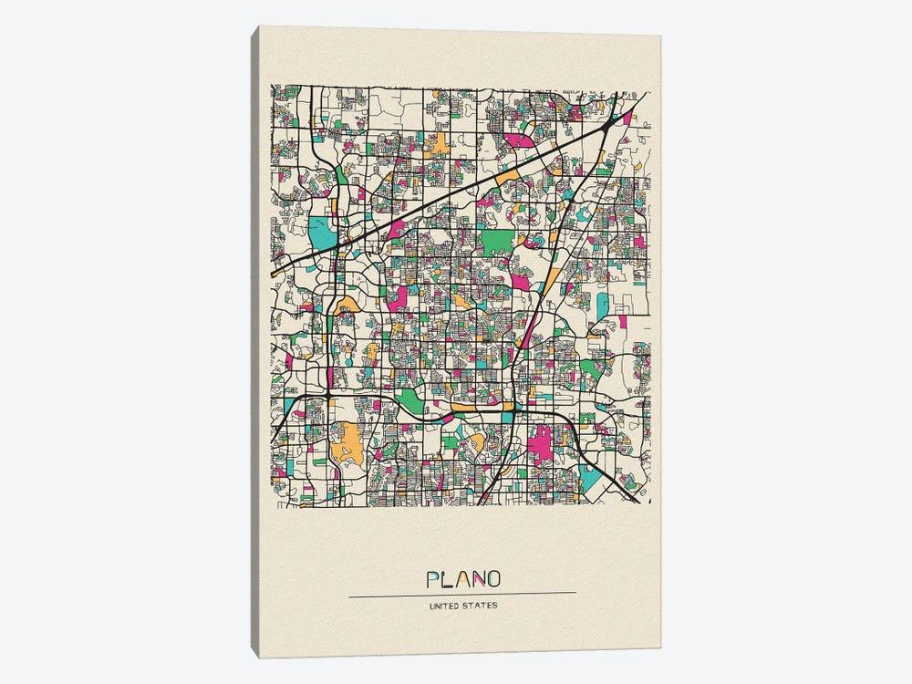 Plano, Texas Map by Ayse Deniz Akerman 1-piece Canvas Wall Art
