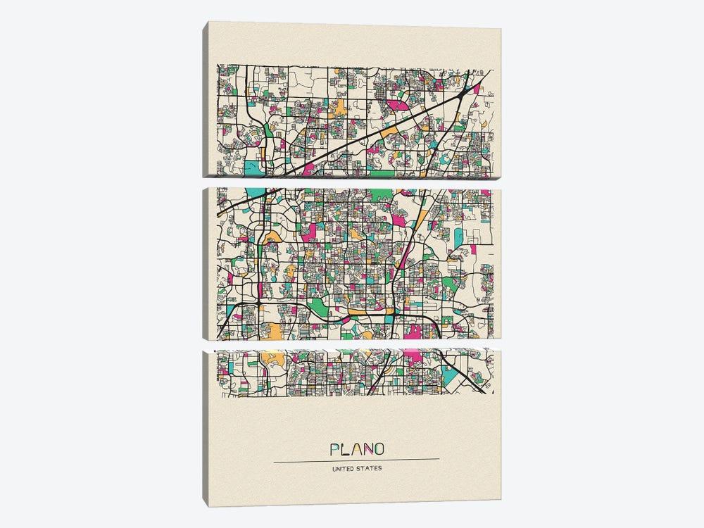 Plano, Texas Map by Ayse Deniz Akerman 3-piece Canvas Art