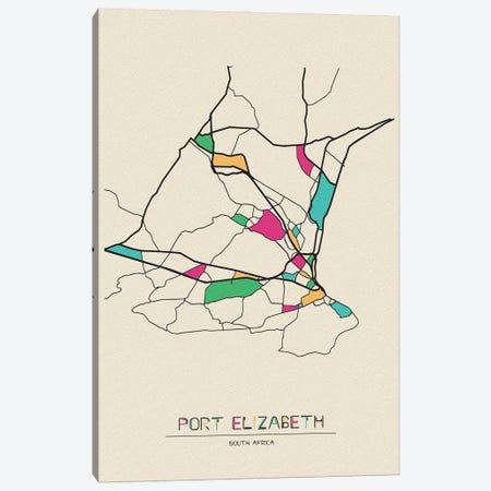 Port Elizabeth, South Africa Map Canvas Print #ADA611} by Ayse Deniz Akerman Canvas Wall Art