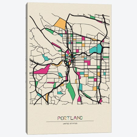 Portland, Oregon Map Canvas Print #ADA612} by Ayse Deniz Akerman Canvas Wall Art