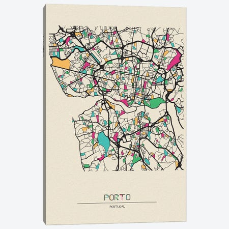 Porto, Portugal Map Canvas Print #ADA613} by Ayse Deniz Akerman Canvas Wall Art