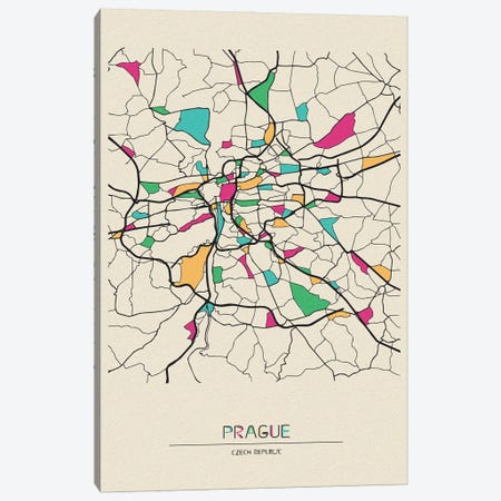 Prague, Czechia Map Canvas Print #ADA614} by Ayse Deniz Akerman Canvas Print