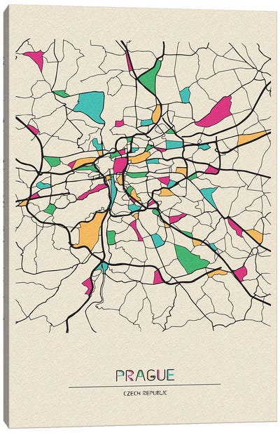Prague, Czechia Map Canvas Art Print