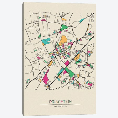 Princeton, New Jersey Map Canvas Print #ADA615} by Ayse Deniz Akerman Art Print
