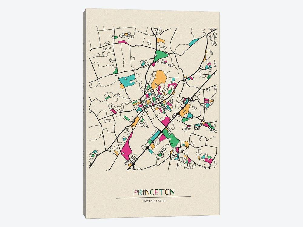Princeton, New Jersey Map by Ayse Deniz Akerman 1-piece Art Print