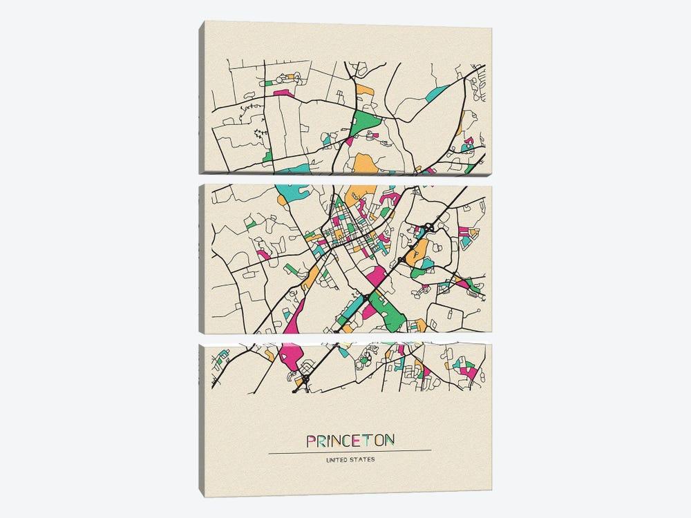Princeton, New Jersey Map by Ayse Deniz Akerman 3-piece Canvas Print