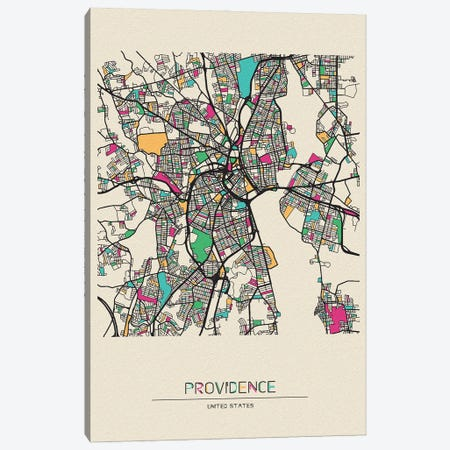 Providence, Rhode Island Map Canvas Print #ADA616} by Ayse Deniz Akerman Canvas Print