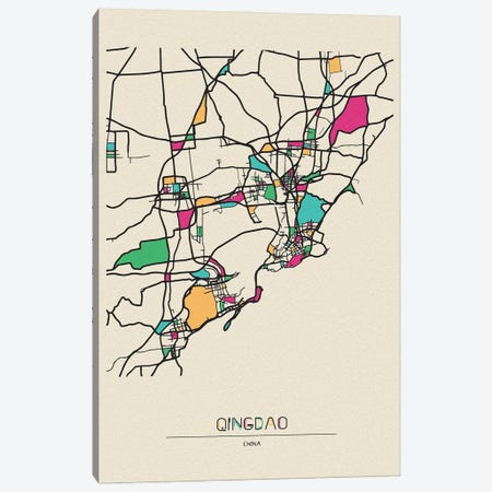 Qingdao, China Map Canvas Print #ADA617} by Ayse Deniz Akerman Art Print