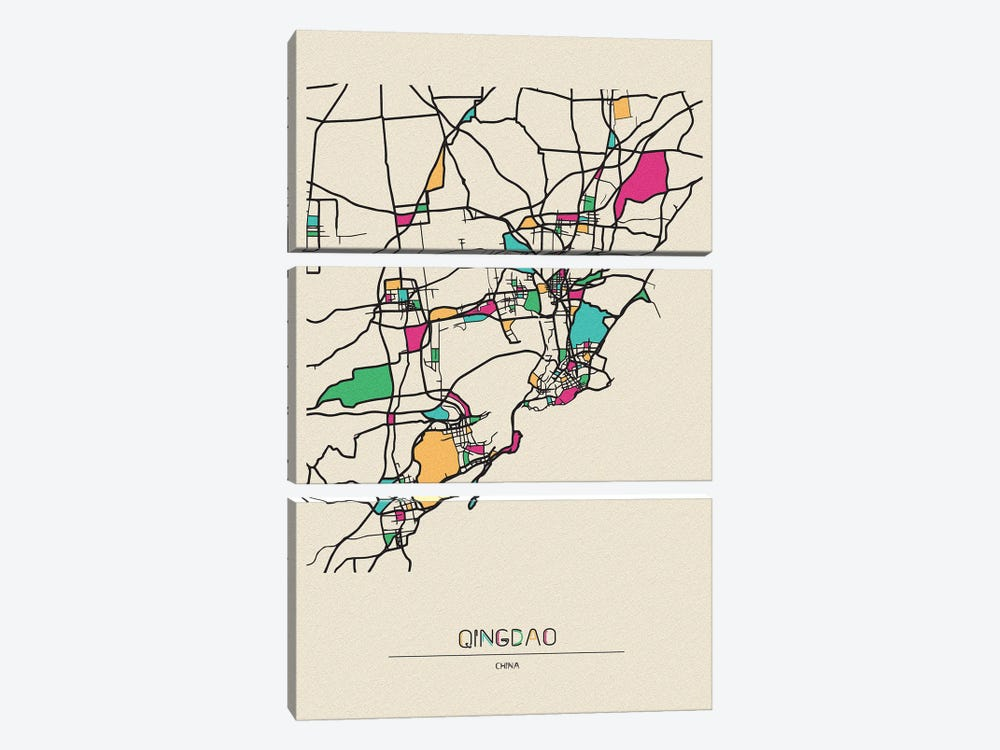 Qingdao, China Map by Ayse Deniz Akerman 3-piece Canvas Print