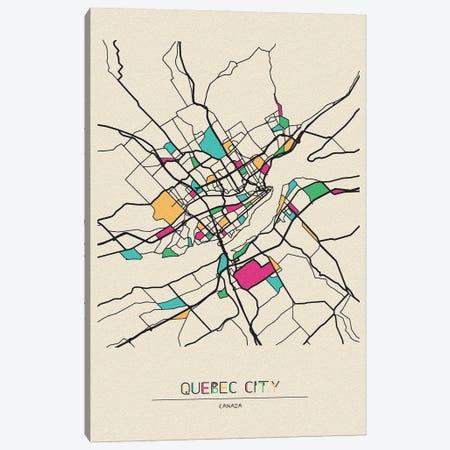 Quebec City, Canada Map Canvas Print #ADA618} by Ayse Deniz Akerman Canvas Art