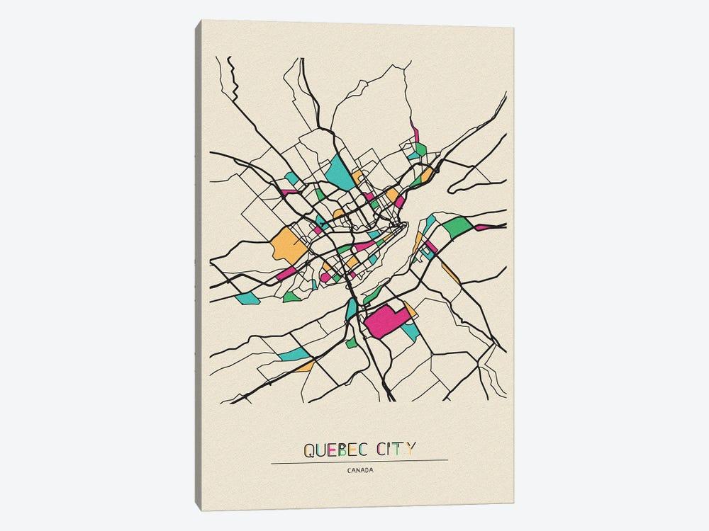 Quebec City, Canada Map by Ayse Deniz Akerman 1-piece Canvas Artwork