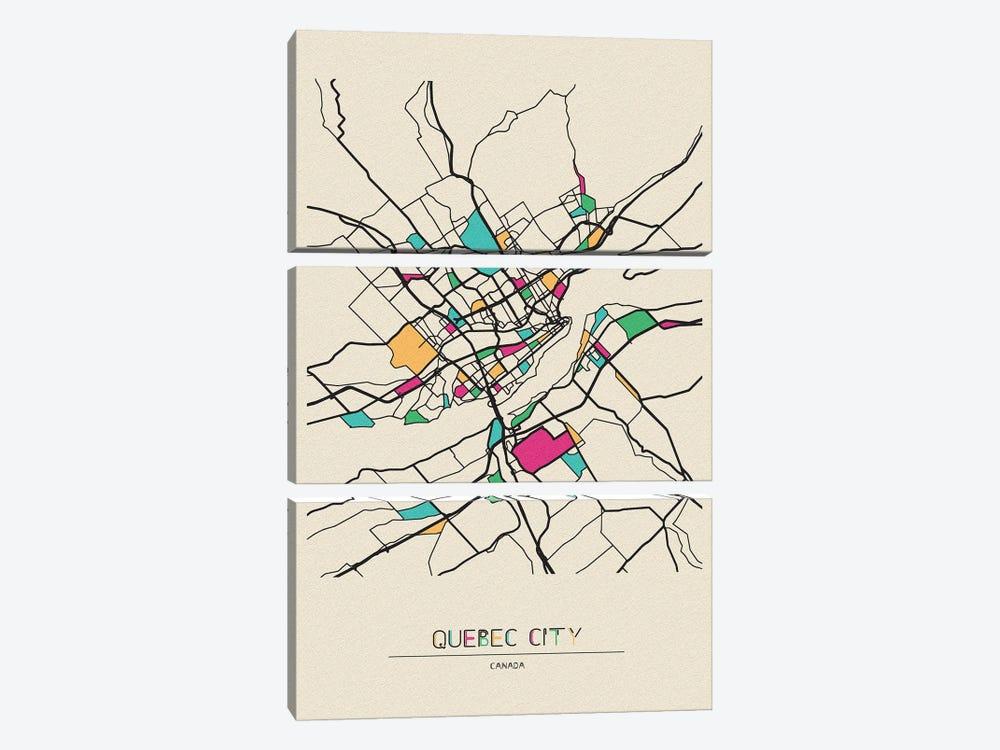 Quebec City, Canada Map by Ayse Deniz Akerman 3-piece Canvas Art