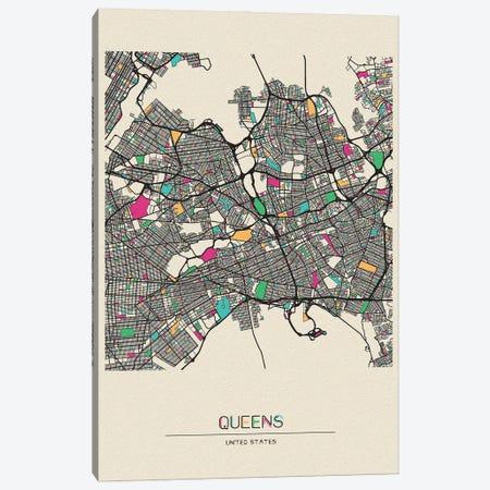 Queens, New York Map Canvas Print #ADA619} by Ayse Deniz Akerman Canvas Artwork