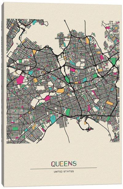 Queens, New York Map Canvas Art Print