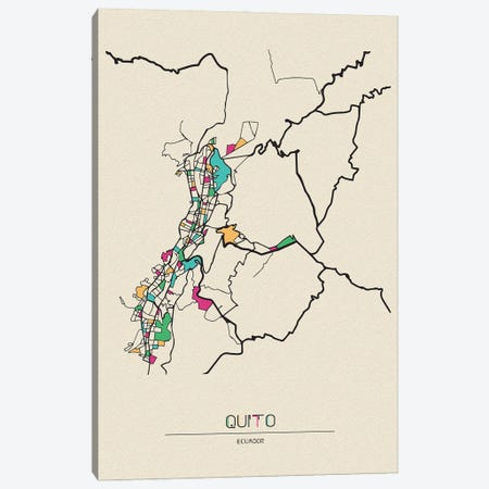Quito, Ecuador Map Canvas Print #ADA620} by Ayse Deniz Akerman Canvas Print