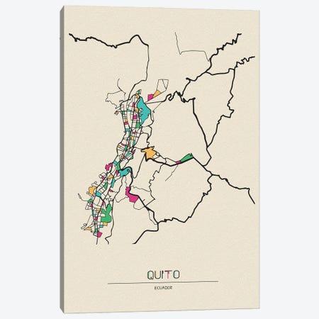 Quito, Ecuador Map Canvas Print #ADA620} by Ayse Deniz Akerman Canvas Print