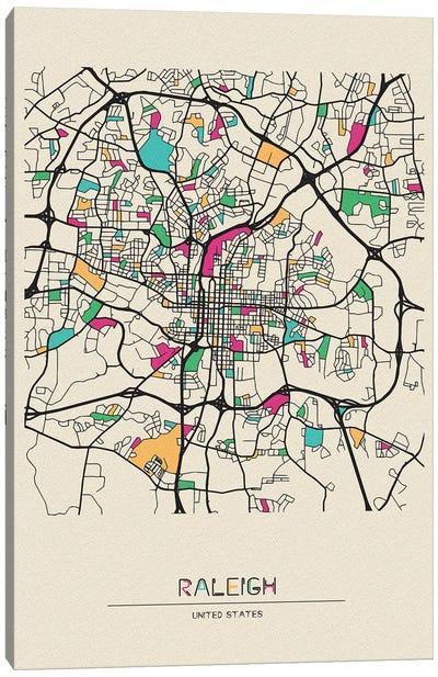 Raleigh, North Carolina Map Canvas Art Print