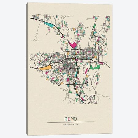 Reno, Nevada Map Canvas Print #ADA622} by Ayse Deniz Akerman Art Print