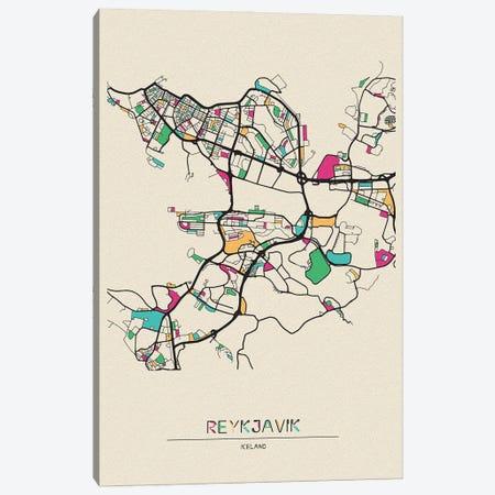Reykjavik, Iceland Map Canvas Print #ADA623} by Ayse Deniz Akerman Canvas Art Print