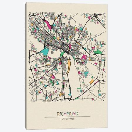 Richmond, Virginia Map Canvas Print #ADA624} by Ayse Deniz Akerman Canvas Artwork