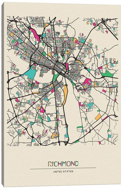 Richmond, Virginia Map Canvas Art Print