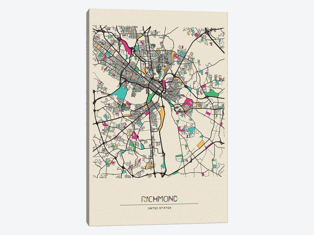 Richmond, Virginia Map by Ayse Deniz Akerman 1-piece Canvas Print
