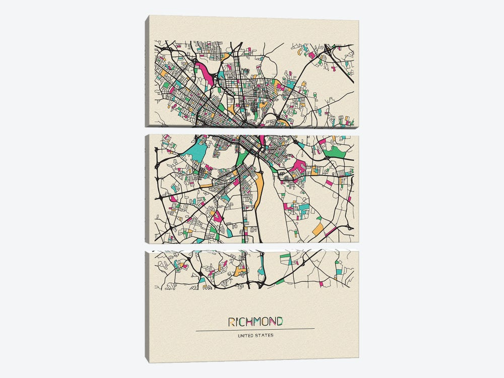 Richmond, Virginia Map 3-piece Canvas Art Print
