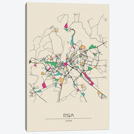 Riga, Latvia Map Canvas Print #ADA625} by Ayse Deniz Akerman Canvas Wall Art