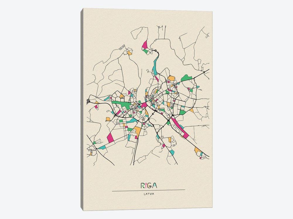Riga, Latvia Map by Ayse Deniz Akerman 1-piece Canvas Wall Art