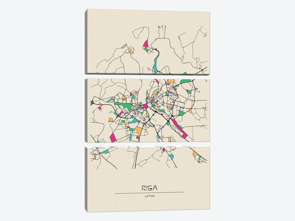 Riga, Latvia Map by Ayse Deniz Akerman 3-piece Canvas Art