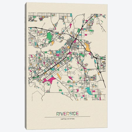 Riverside, California Map Canvas Print #ADA627} by Ayse Deniz Akerman Canvas Wall Art